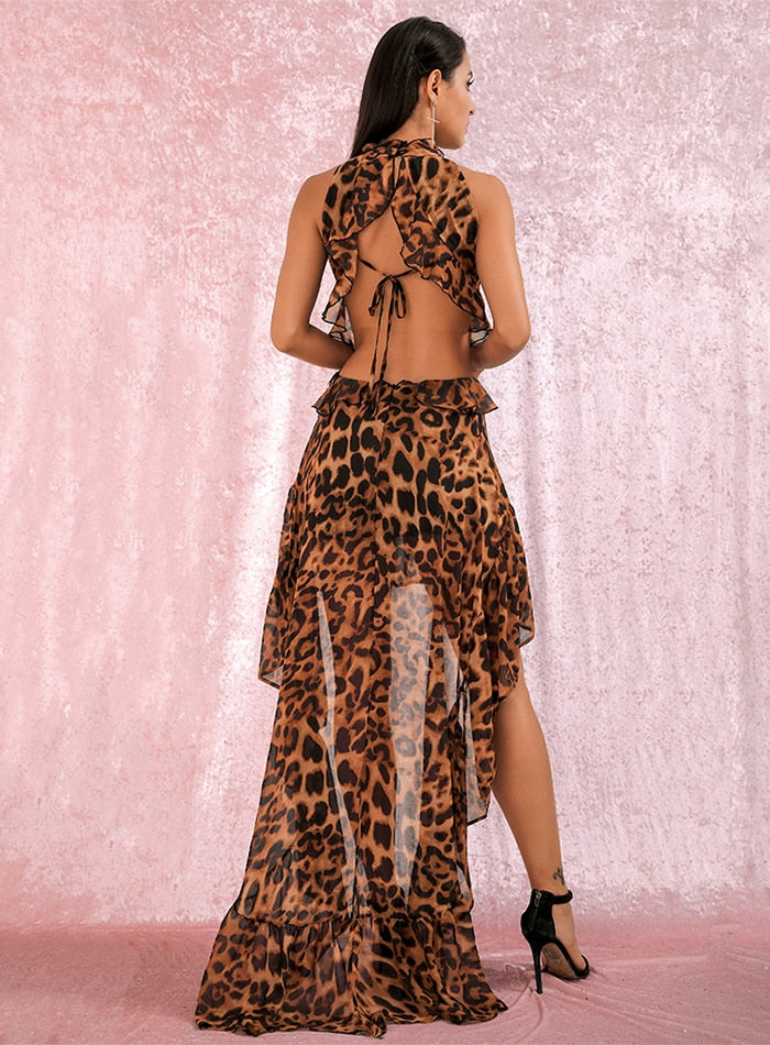 Open Back Ruffles Leopard Chiffon Dress - Flip Flop Labs