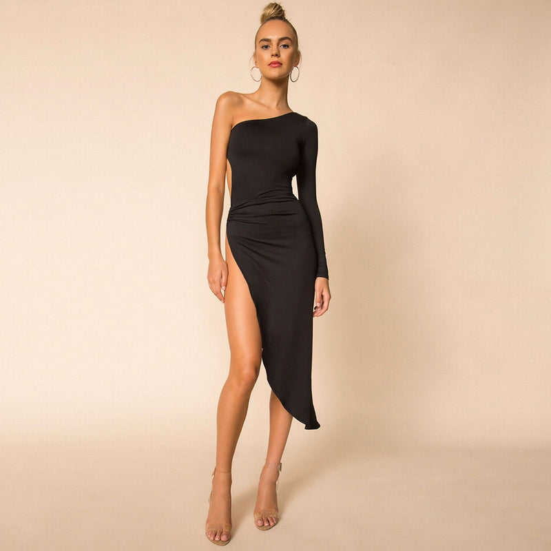 One Shoulder Side Slit Bodycon Midi Dress - Flip Flop Labs