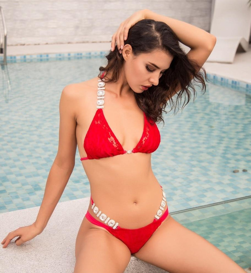 Red Lace Cross Silver Chain Bikini Set - Flip Flop Labs
