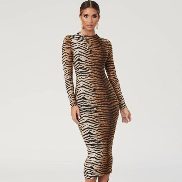 Tiger Animal Print Bodycon Dress - Flip Flop Labs