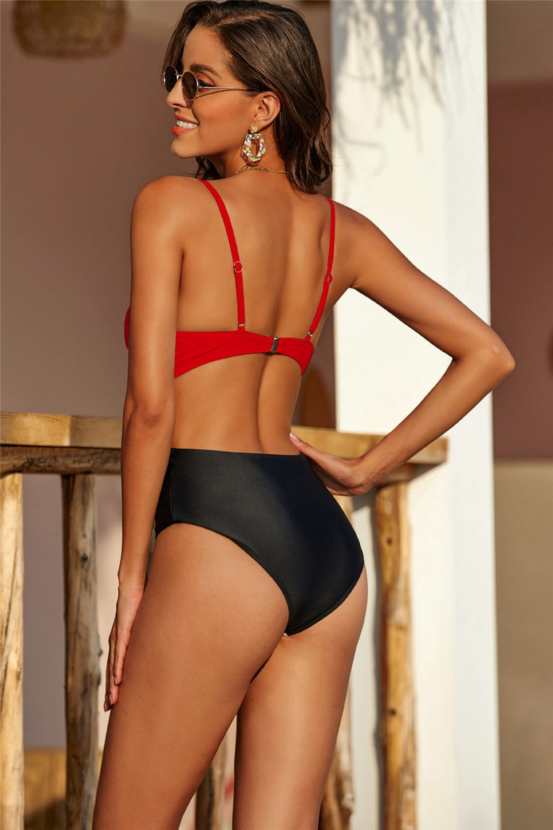 One Piece High Waist Belt Swimsuit - Flip Flop Labs