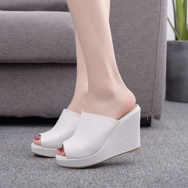 Peep Toe Platform Wedge Slippers - Flip Flop Labs