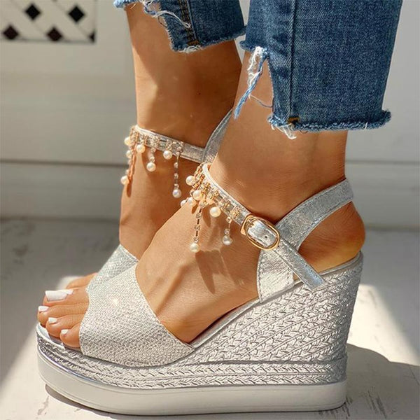 Crystal Bead Wedge Sandals - Flip Flop Labs