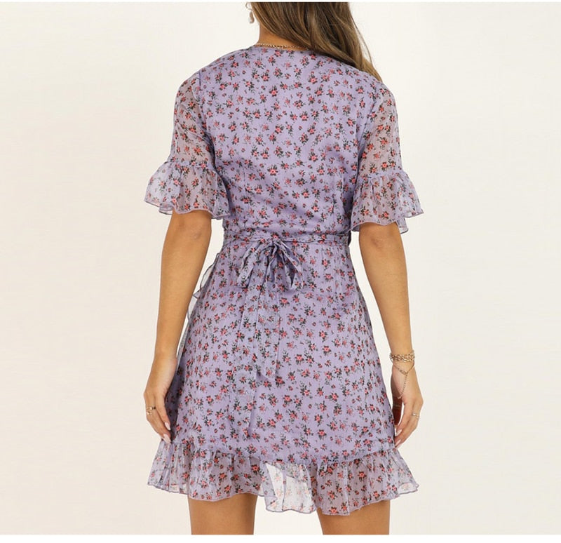 Lilac Floral Wrap Dress - Flip Flop Labs