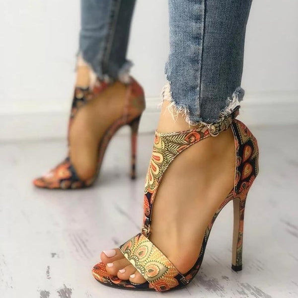 Paisley Retro Heeled Sandals - Flip Flop Labs