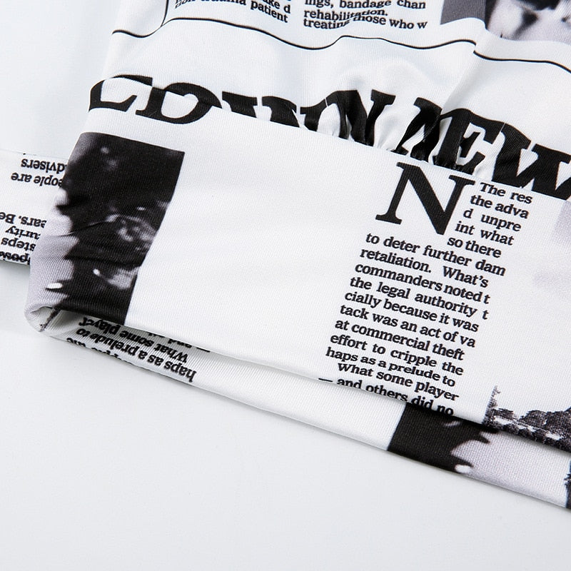 Newspaper Print Wrap Crop Top - Flip Flop Labs