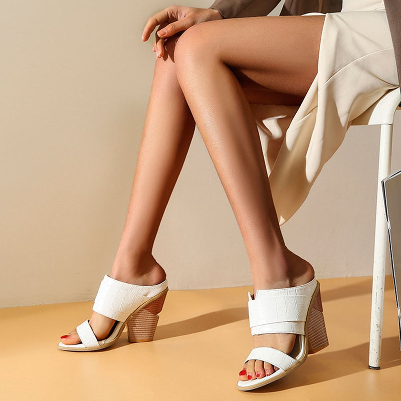 Chunky High Heeled Mules - Flip Flop Labs