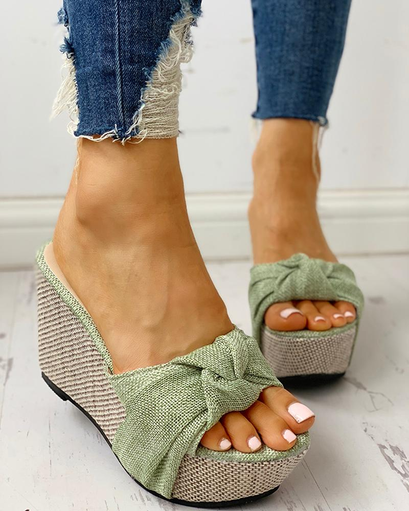 Bow tied Slide Wedges - Flip Flop Labs