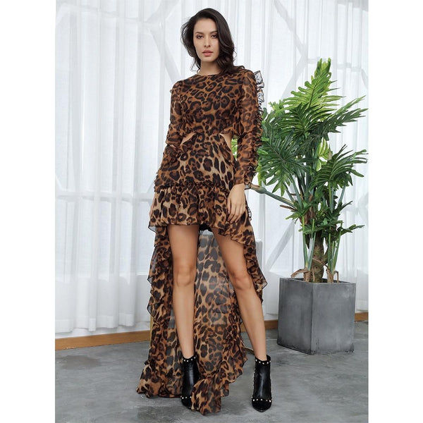 Ruffles Open Black Leopard Chiffon Dress