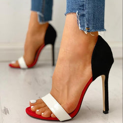 Open Toe Colorblock Thin Heeled Sandals - Flip Flop Labs