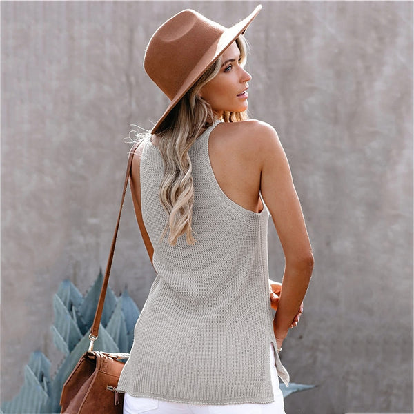 Round Neck Knitted Tank Top - Flip Flop Labs