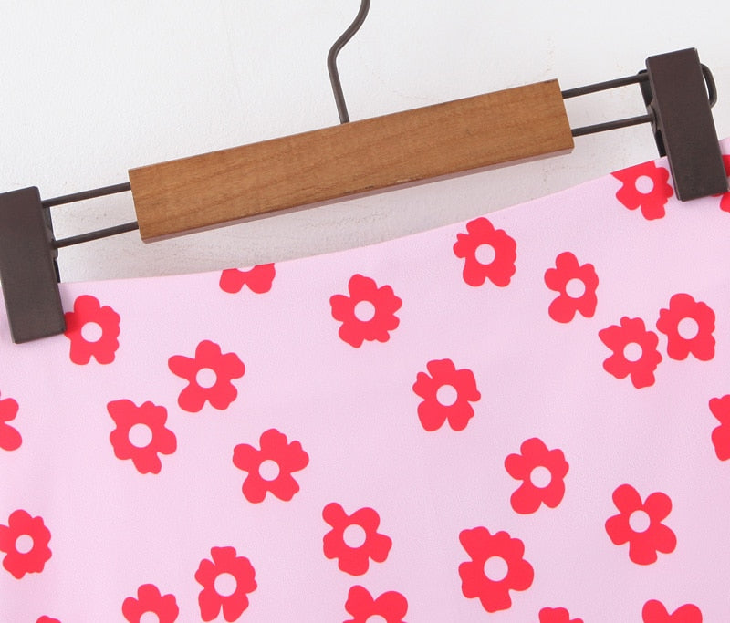 Pink Flowers Mini Skirt - Flip Flop Labs