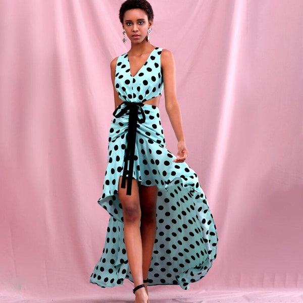Deep V-Neck Polka Dot Maxi Dress - Flip Flop Labs