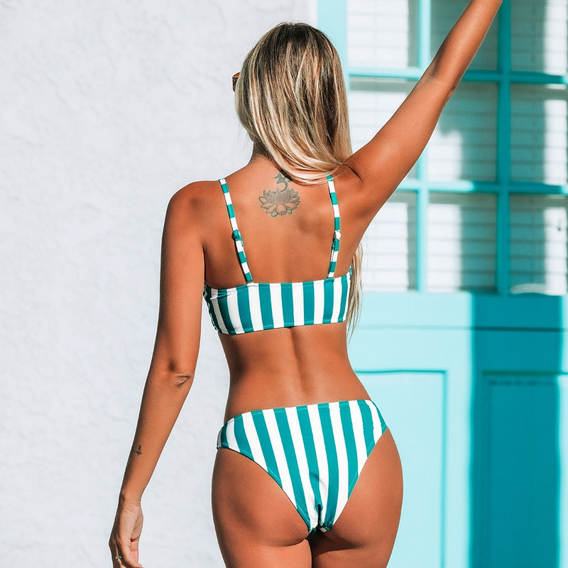 Striped Bandeau Tank Bikini Set - Flip Flop Labs