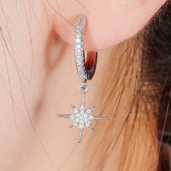 CZ Star And Moon Earrings