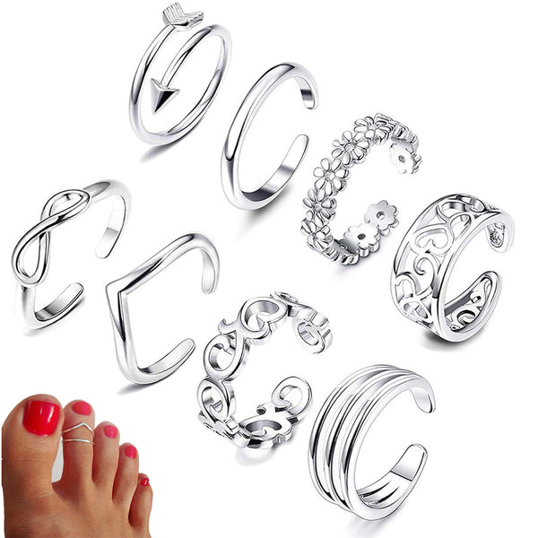 8 Piece Boho Toe Ring Set - Flip Flop Labs