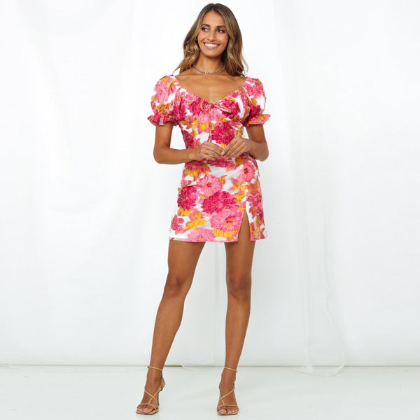 Puffy Sleeve Boho Split Mini Dress - Flip Flop Labs
