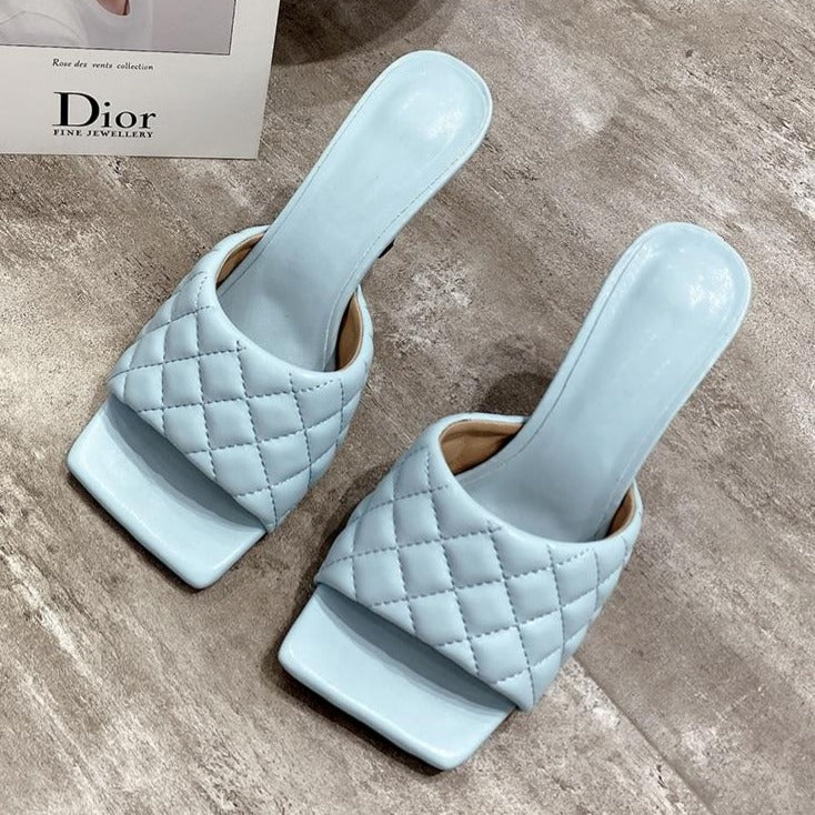Embossed Diamond Square Mules - Flip Flop Labs