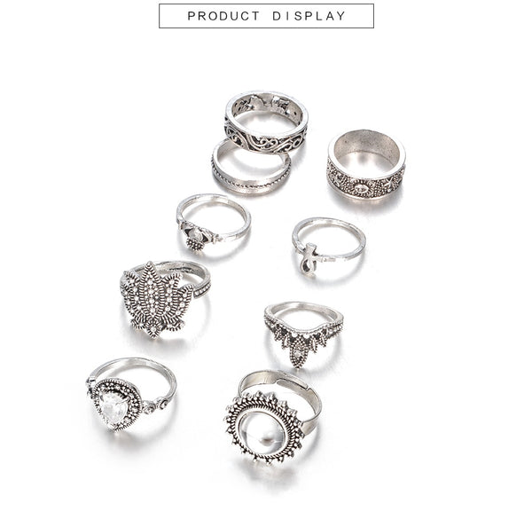 9 Piece Boho Ring Set - Flip Flop Labs