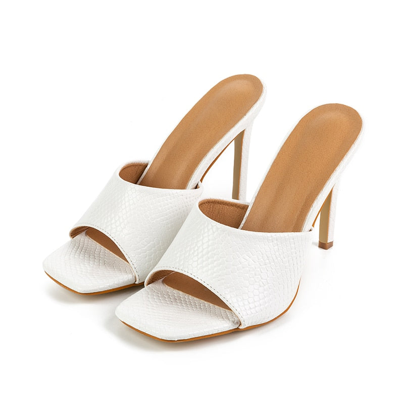 Square Toe Thin Heel Slippers - Flip Flop Labs