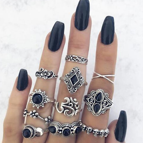 11 Piece Boho Antique Silver Midi Ring Set - Flip Flop Labs