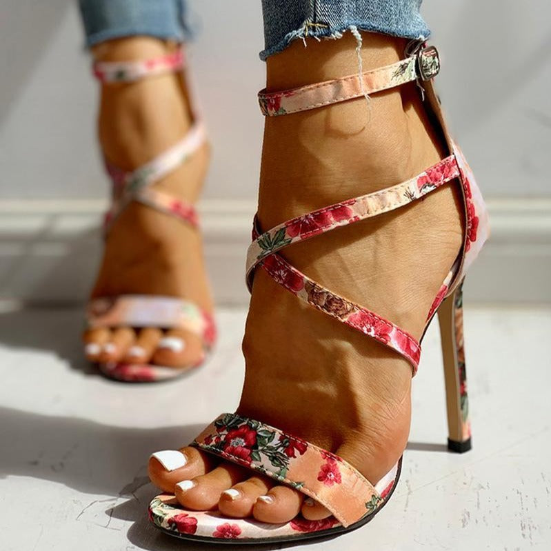 Floral Cross Strap High Sandals - Flip Flop Labs