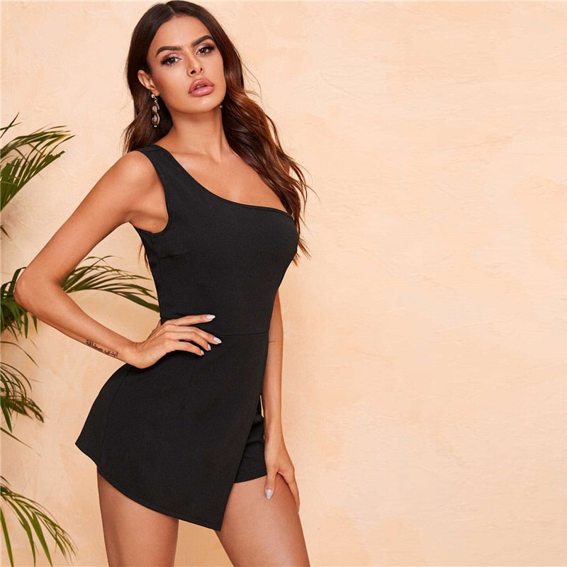 One-Shoulder Wrap Romper - Flip Flop Labs