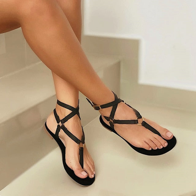 Cross Ankle Strap Flat Sandals - Flip Flop Labs