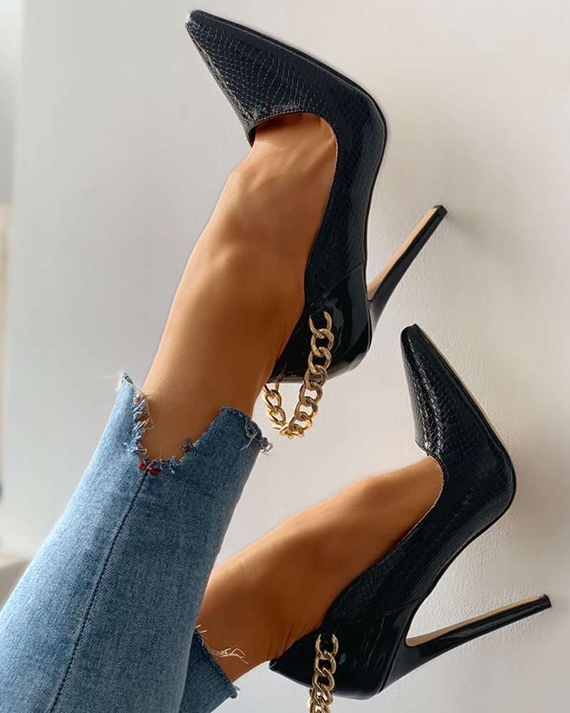 Pointed Toe Chain Heel Pumps - Flip Flop Labs