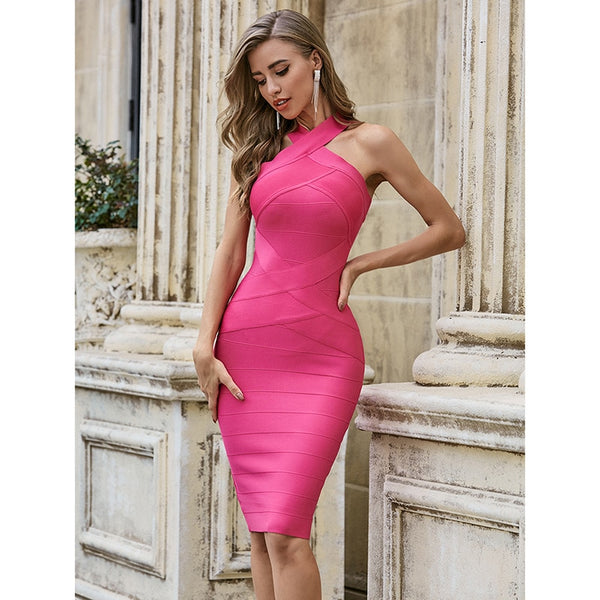 Hot Pink Sleeveless Bodycon Rayon Dress - Flip Flop Labs