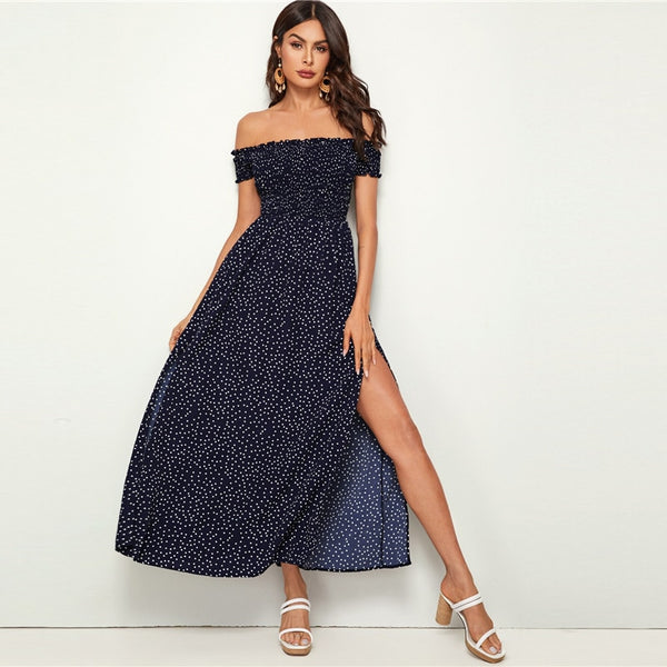 Off Shoulder Split Thigh Polka-dot Maxi Dress - Flip Flop Labs