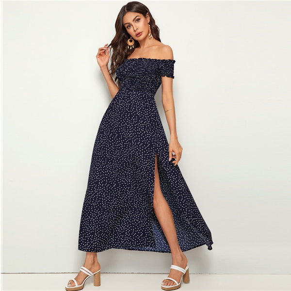 Off Shoulder Split Thigh Polka-dot Maxi Dress