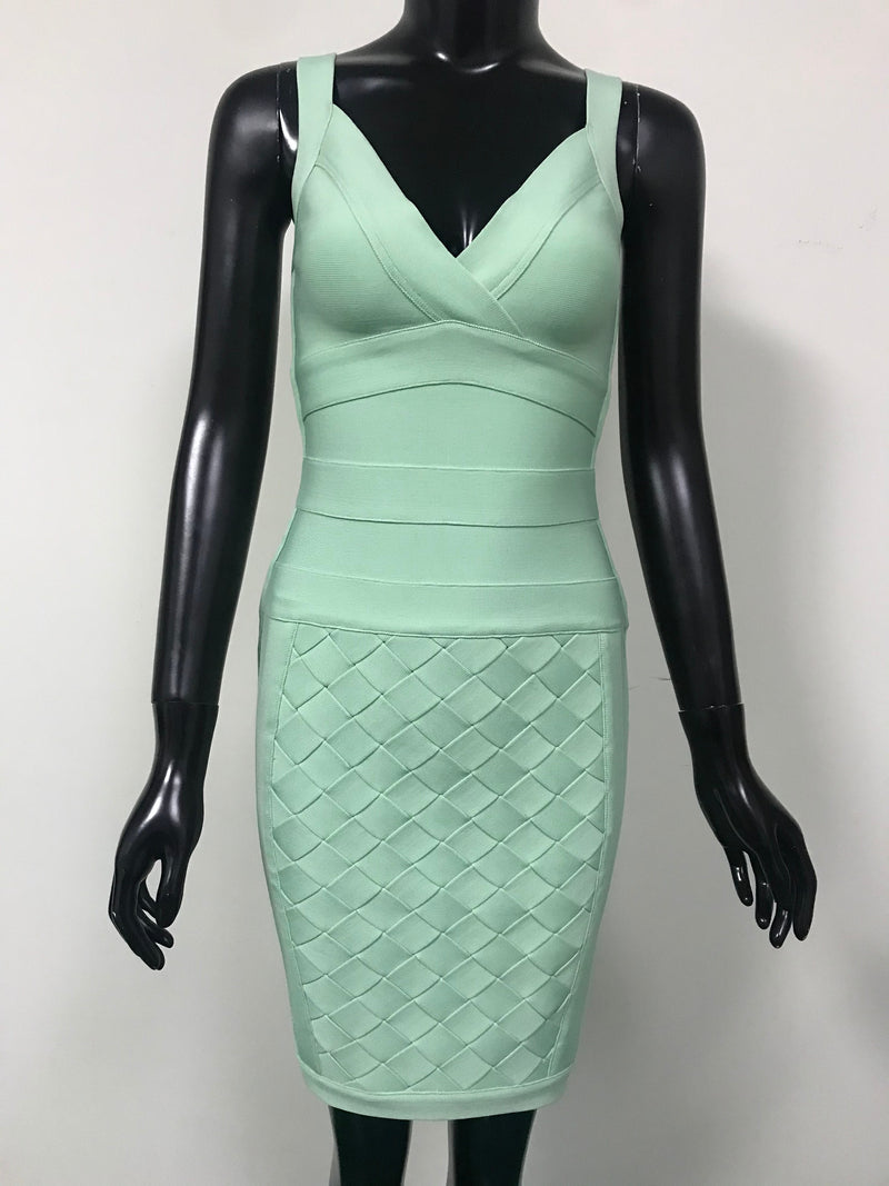Mint V-Neck Bodycon Mini Dress - Flip Flop Labs