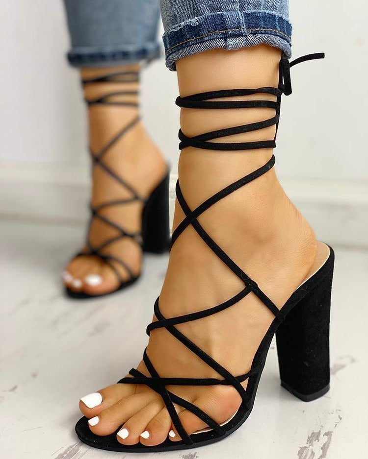 Chunky Heel X-Strap Sandals - Flip Flop Labs