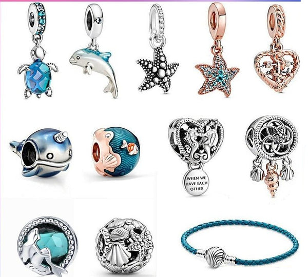 Sterling Silver Ocean Series Charms for 3mm Bracelet DIY - Flip Flop Labs