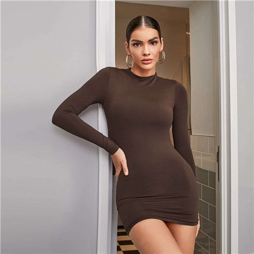 Mock Neck Solid Bodycon Mini Dress - Flip Flop Labs