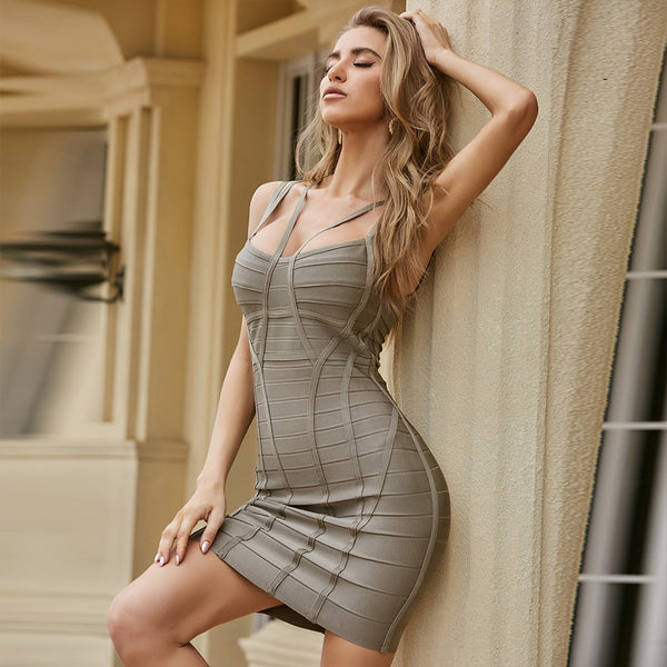 Grey Bandage Mini Bodycon Dress - Flip Flop Labs
