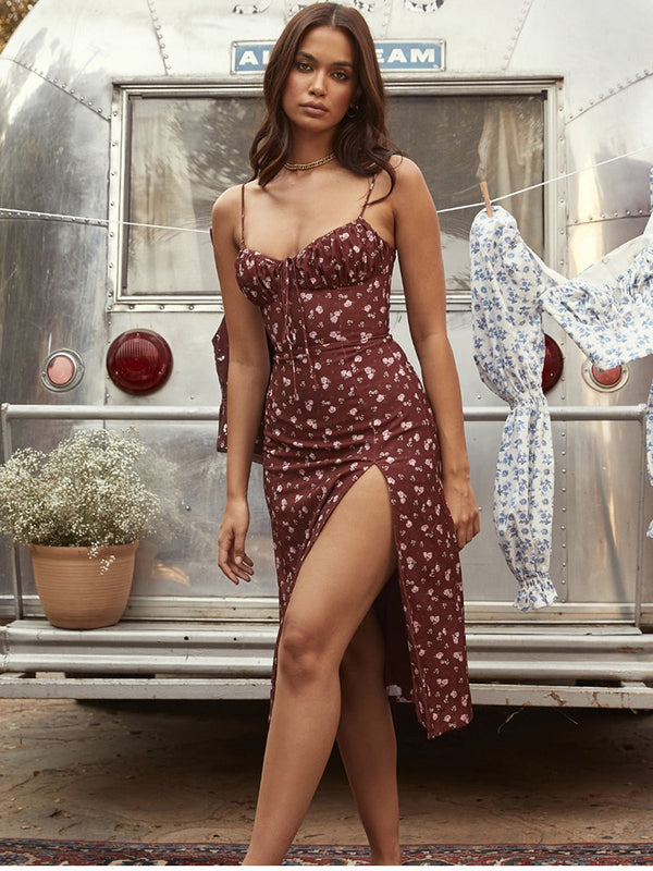 Boho Wine Floral Dress - Flip Flop Labs