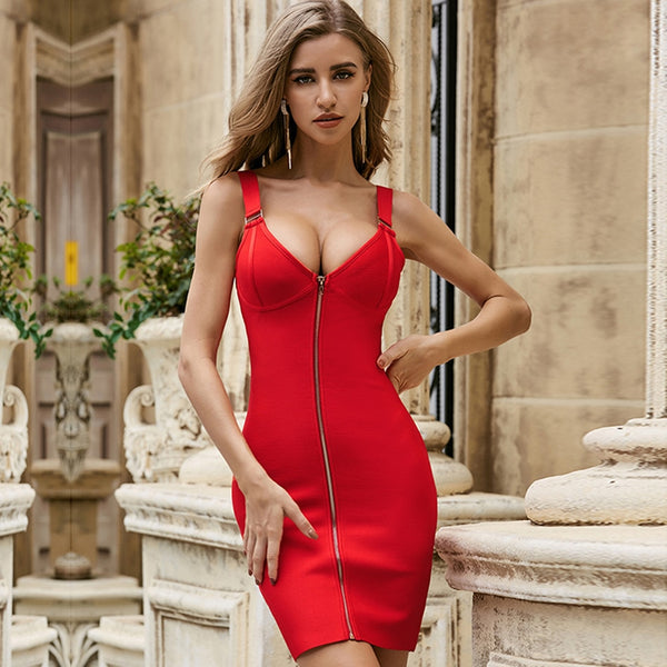 Bandage Bodycon V Mini Dress - Flip Flop Labs