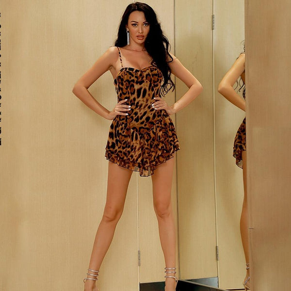 Thin Strap Leopard Chiffon Mini Dress - Flip Flop Labs