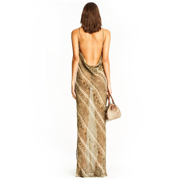 Snake Print Chiffon Maxi Dress