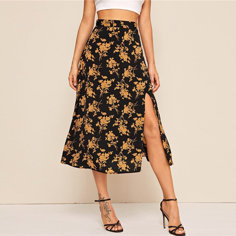 Split Thigh Floral Print Long Skirt - Flip Flop Labs