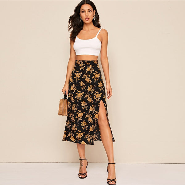 Split Thigh Floral Print Long Skirt