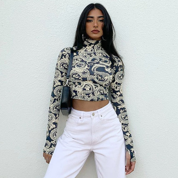 Dragon Print Turtleneck Crop Top