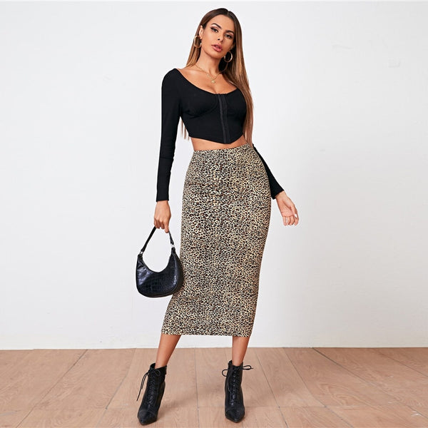 Leopard Print Long Pencil Skirt - Flip Flop Labs