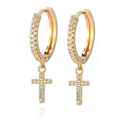 CZ Cross Hoop Earrings - Flip Flop Labs