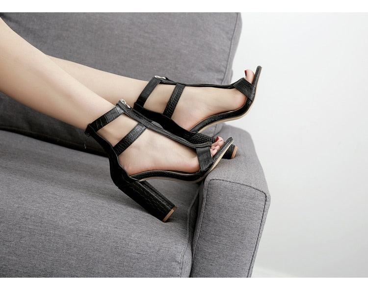 Black Peep Toe Gladiator High Sandals - Flip Flop Labs