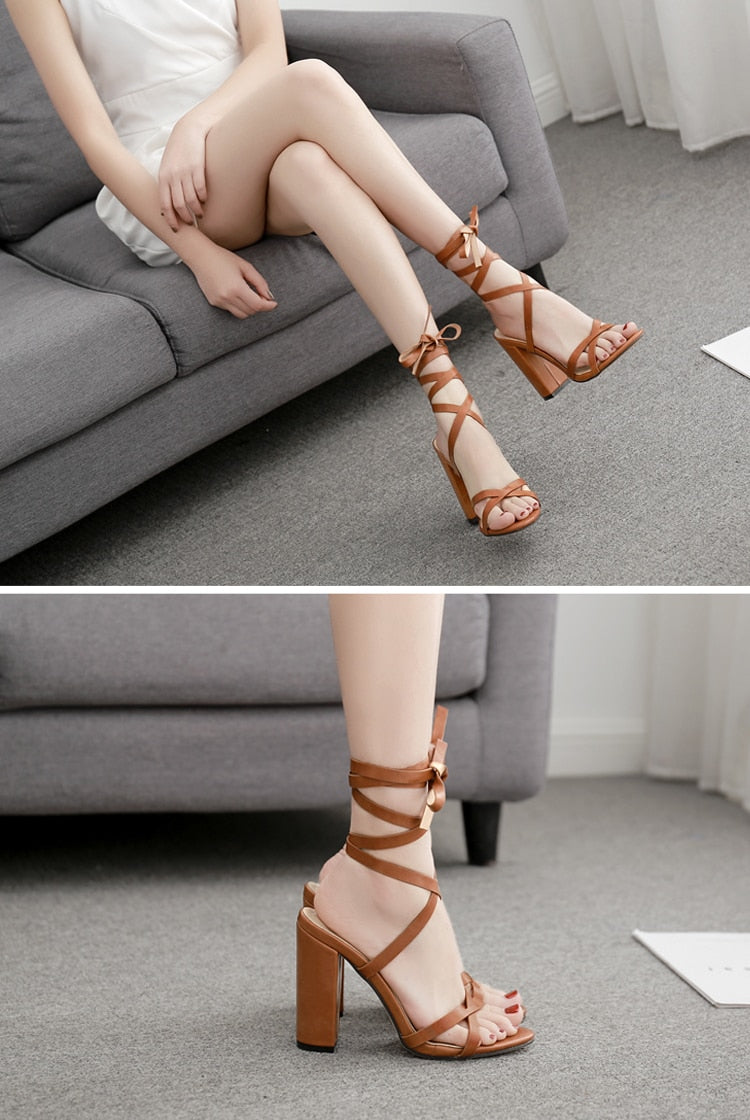 Lace-up Square Heeled Sandals - Flip Flop Labs