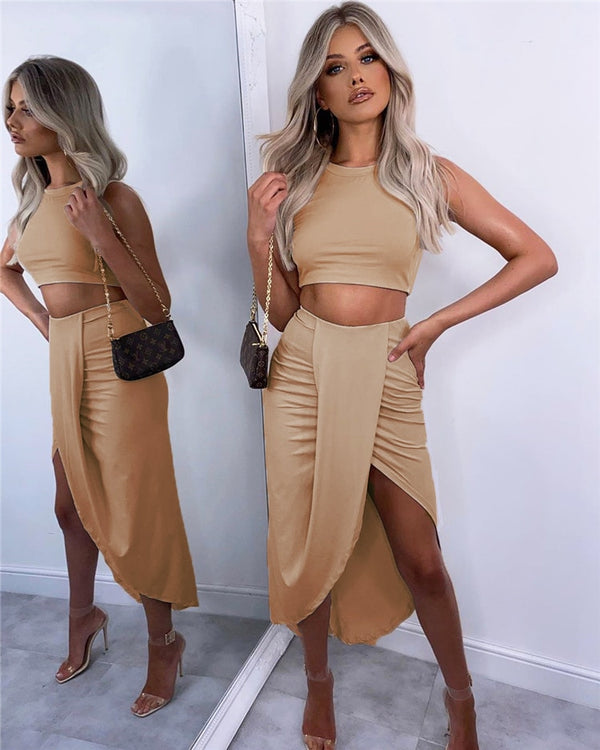 Draped Long Skirt & Crop Top Set