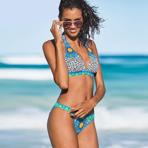 Retro Halter Push Up Swimsuit